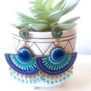 Gorgeous Turquoise Blue Beaded Fan Earrings
